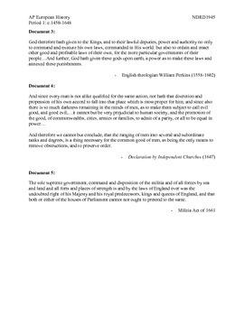 AP European History Period 1 English Civil War Group Activity DBQ Lesson