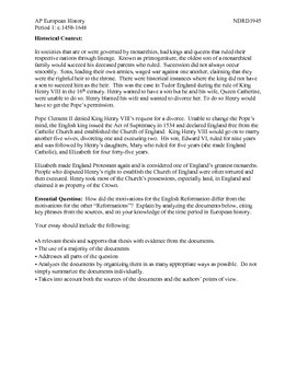 AP European History Period 1 English Reformation DBQ and Activity
