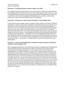 AP European History Period 1 European Motivations for Colonization DBQ
