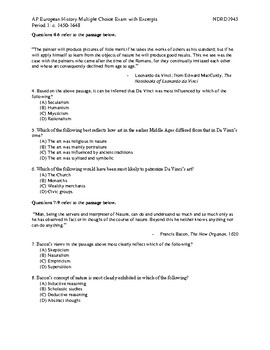 NEW AP European History Period 1 MC Exam with Excerpts and Answer Key
