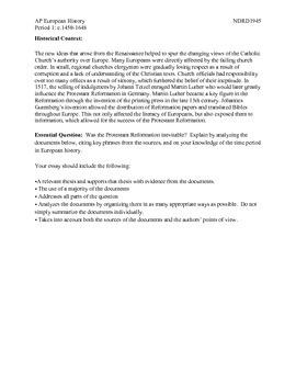 AP European History Period 1 Reformation DBQ Lesson
