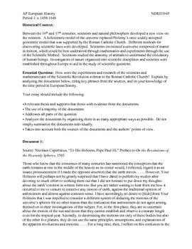 AP European History Period 1 Scientific Revolution DBQ Lesson