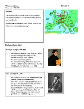 AP European History Period 1 Spread of the Reformation Activity Lesson