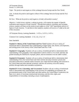 AP European History Period 1 The Impact of the Columbian Exchange DBQ Activity