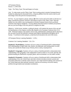 AP European History Period 1 Thirty Years' War DBQ Group Activity