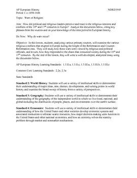 AP European History Period 1 Wars of Religion DBQ Activity Lesson