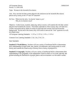 AP European History Period 1 Women in the Scientific Revolution DBQ Lesson