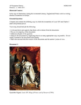 AP European History Period 2 Comparison of Absolutism in France & England DBQ