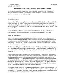 AP European History Period 2 Enlightened Despots Activity Lesson