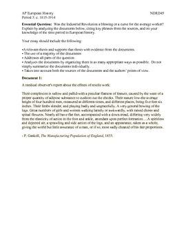 AP European History Period 3 Industrial Revolution DBQ Lesson