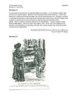 AP European History Period 3 Suffrage Movement Lesson Activity