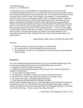 AP European History Period 4 Collapse of the Soviet Union Primary Source Lesson