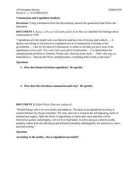 AP European History Period 4 Comparison of Capitalism and Communism DBQ