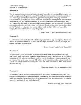 AP European History Period 4 Decolonization & End of Imperialism DBQ Lesson