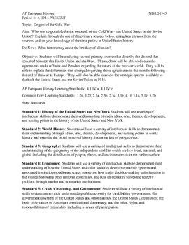 AP European History Period 4 Origins of the Cold War Lesson