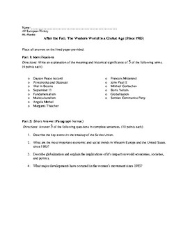 AP European History Period 4 Supplemental Assessment: After 1985