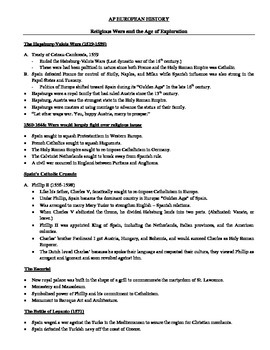AP European History: Religious Wars and the Age of Exploration Notes