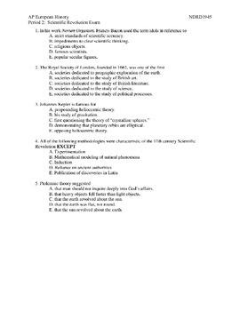 AP European History:  Scientific Revolution Multiple Choice Exam