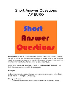 AP European History - Short Answer Graphic Organizer & Minilesson