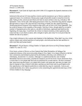 AP European History Spanish Conquest of the Americas & Perceptions DBQ Activity