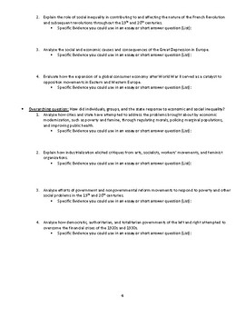 AP European History Study Guide: Thematic Evidence Review
