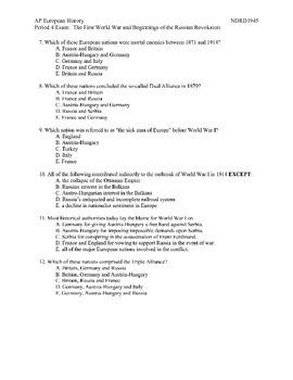 AP European History:  The First World War & Russian Revolution Exam