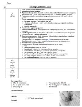AP French Exam Essay Score Sheet
