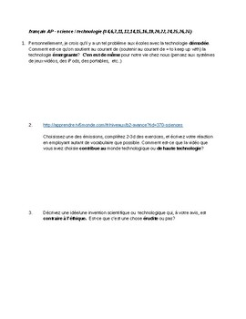 AP French Science & Technology Vocabulary Discussion Module