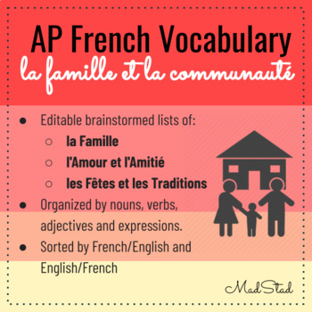 AP French Vocabulary: Famille et Communauté/Family and Community