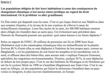 AP French persuasive essay: climate refugees (les défis mondiaux)