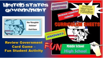 """The Thoughtful Politician"" flash cards / vocabulary government review"