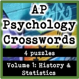 AP / General High School Psychology Crosswords Volume 1: History & Statistics