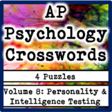 AP / General Psychology Crosswords Volume 8: Personality & Intelligence Testing