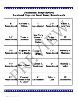 Government Bingo: Landmark Supreme Court Cases and Amendments