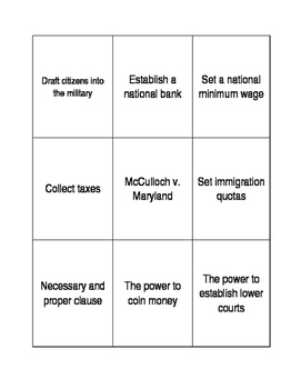 AP Government Branches of Power Card Game!