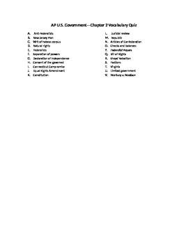 AP Government Constitution Vocabulary Quiz