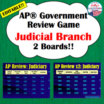 AP® Government Review Game- Judicial Branch (editable)