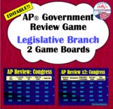 Legislative Branch Review Game: AP® U.S. Government (editable)