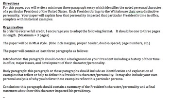 AP Government - Presidential Personality Essay Assignment