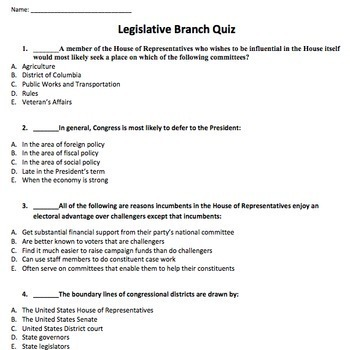 AP Government Review Practice Quizzes