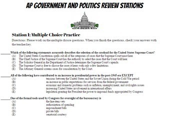 AP Government and Politics Stations Review # 2