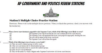 AP Government and Politics Review Stations Lesson # 1