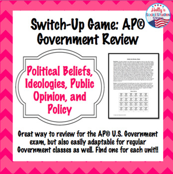 Political Beliefs/Ideologies, Public Opinion, Policy Switch-Up Game (AP® Gov)