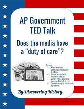 "AP Government TED Talk: Does the media have a ""duty of care""?"