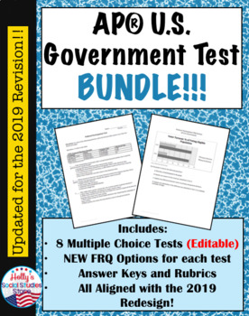 AP® Government Exams Bundle- 8 Tests Total!!