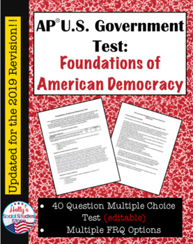 AP Constitutional Underpinnings Test (For use in AP* Gover