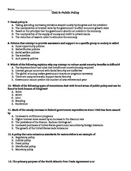 AP Government- Public Policy Test