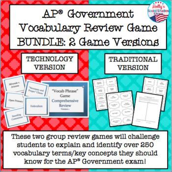 ac0e57cbae774 AP® Government Vocabulary Review Game BUNDLE (2 Game Versions)