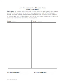 AP® Government Vocabulary Review Game (Traditional Card Version)