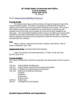 AP Government and Politics Course Syllabus